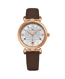 Alexander Watch A202-04, Ladies Quartz Small-Second Date Watch with Rose Gold Tone Stainless Steel Case on Brown Satin Strap