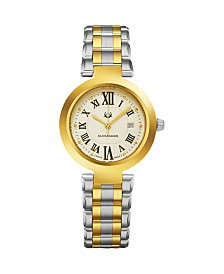 Alexander Watch A203B-02, Ladies Quartz Date Watch with Yellow Gold Tone Stainless Steel Case on Yellow Gold Tone Stainless Steel Bracelet