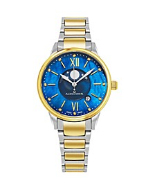Alexander Watch A204B-03, Ladies Quartz Moonphase Date Watch with Yellow Gold Tone Stainless Steel Case on Yellow Gold Tone Stainless Steel Bracelet