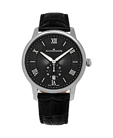 Alexander Watch A102-02, Stainless Steel Case on Black Embossed Genuine Leather Strap