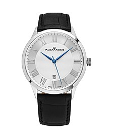 Alexander Watch A103-01, Stainless Steel Case on Black Embossed Genuine Leather Strap