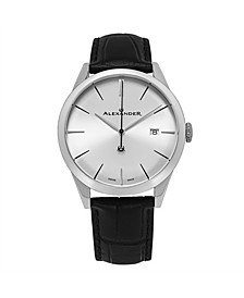 Alexander Watch A911-02, Stainless Steel Case on Black Embossed Genuine Leather Strap