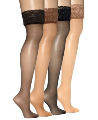 2 Hanes Silk Reflections Lace Top Thigh Highs 0A444