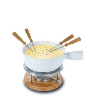 1 Liter Fondue Bianco - Ceramic with Oak Base