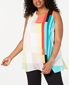 Alfani Plus Size Sleeveless Colorblocked Tunic, Created for Macy's