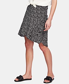 Printed Ruched Faux-Wrap Skirt