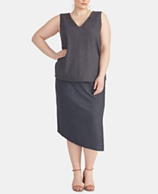 RACHEL Rachel Roy Plus Size Emmy Asymmetrical Skirt