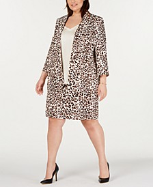 Plus Size Leopard-Print Blazer, Ruffled Top & Skirt, Created for Macy's