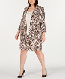Bar III Plus Size Leopard-Print Blazer, Ruffled Top & Skirt, Created for Macy's