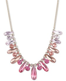 "Givenchy Gold-Tone Pink Crystal Frontal Necklace, 16"" + 3"" extender"