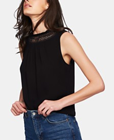 1.STATE Lace-Neck Top