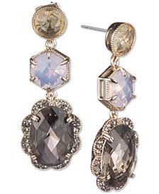 Gold-Tone Multi-Stone Linear Drop Earrings