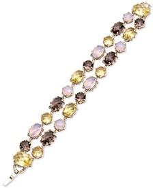 Gold-Tone Multi-Stone Double Row Bracelet