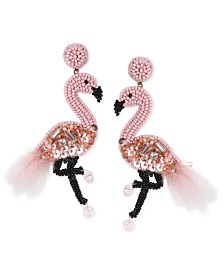 Deepa Gold-Tone Beaded Flamingo Drop Earrings