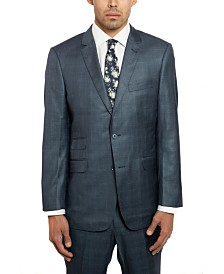 English Laundry Two Button Notch Lapel Slim Fit Men's Navy Blue Windowpane Suit With Flat Front Pants
