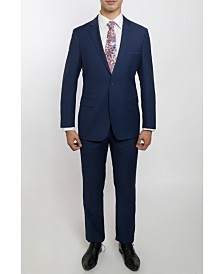 English Laundry Two Button Notch Lapel Slim Fit Men's French Blue Suit With Flat Front Pants