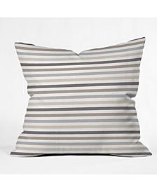 Little Arrow Design Co Mod Neutral Linen Stripes Throw Pillow