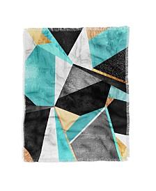 Elisabeth Fredriksson Turquoise Geometry Woven Throw Blanket