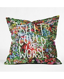 Floral typography Throw Pillow