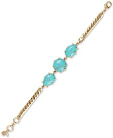 Lucky Brand Gold-Tone Imitation Turquoise Flex Bracelet