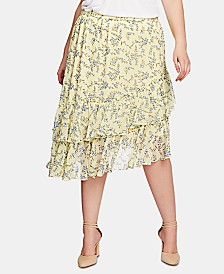 1.STATE Plus Size Printed Tiered Asymmetrical-Hem Skirt