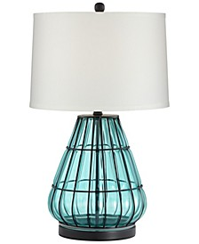 Metal Cage and Aqua Glass Table Lamp