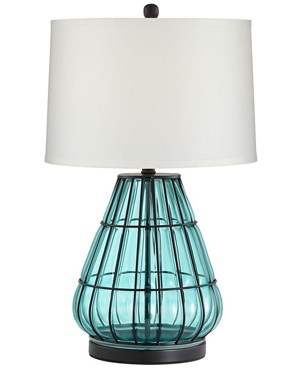 Pacific Coast Metal Cage and Aqua Glass Table Lamp