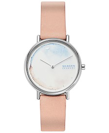 Skagen Women's Signatur Slim Blush Leather Strap Watch 36mm