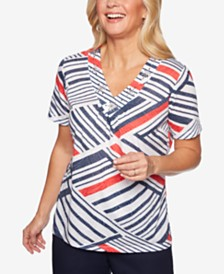 Alfred Dunner In The Navy Printed Studded Top