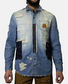 Heritage America Men's Patchwork Destroyed Denim Shirt