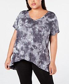 Plus Size Tie-Dyed High-Low Top