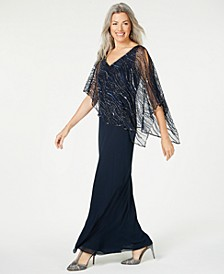 Beaded V-Neck Illusion-Overlay Gown