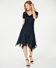 J Kara Embellished Asymmetrical Dress