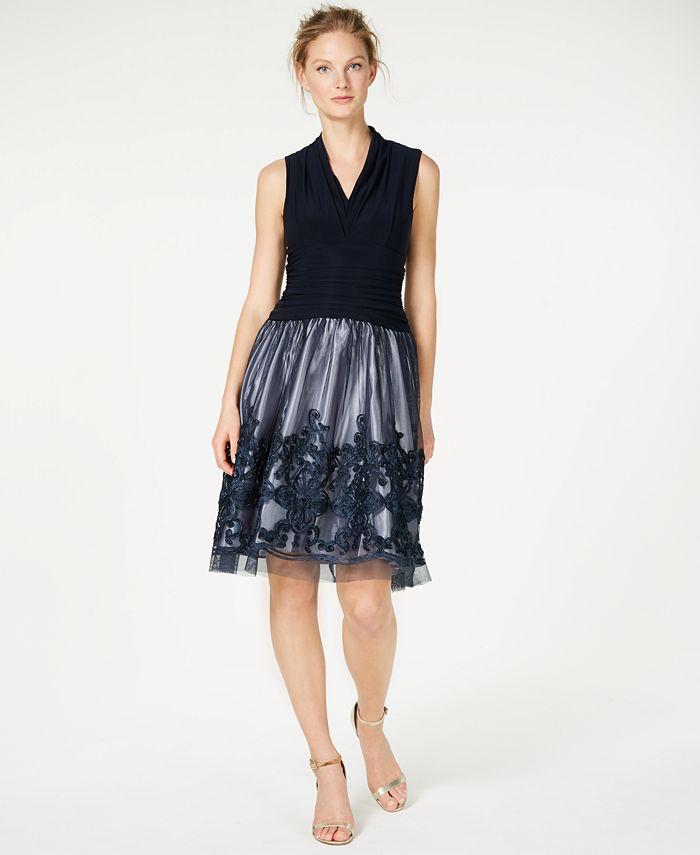 SL Fashions - Illusion Soutache-Trim Party Dress