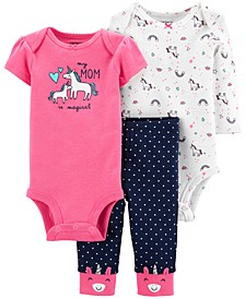 Baby Girls 3-Pc. Unicorn Bodysuits & Pants Set