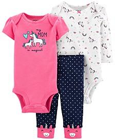 Baby Girls 3-Pc. Unicorn Bodysuits & Pants Set