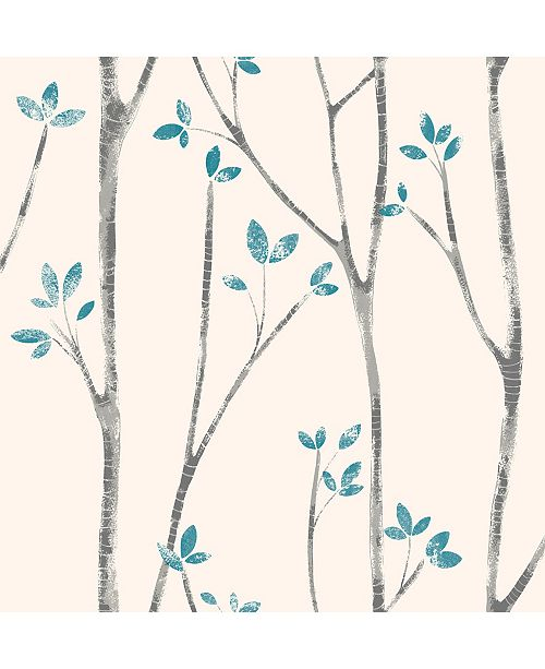 "Brewster Home Fashions Ingrid Scandi Tree Wallpaper - 396"" x 20.5"" x 0.025"""