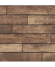 "Brewster Home Fashions Weathered Nailhead Plank Wallpaper - 396"" x 20.5"" x 0.025"""