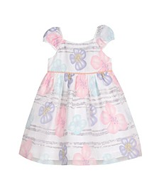 London Little Girls Puff Sleeve Party Dress
