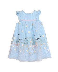 Laura Ashley Toddler and Little Girl's Blue Ruffle Sleeve Party Dress