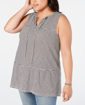 Lucky Brand Tops PLUS SIZE COTTON STRIPED TIERED TOP
