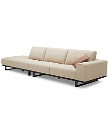 Laser 2-Pc. Fabric Bumper Chaise Sectional Sofa