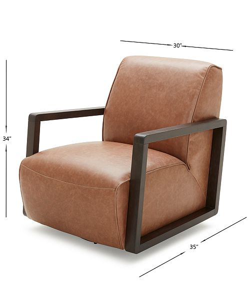 """Furniture Laser 30"""" Leather Accent Swivel Chair & Reviews"""