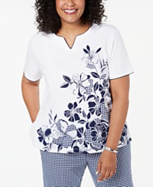 Alfred Dunner Plus Size In The Navy Floral-Print Gingham-Accent Top