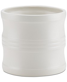"Ceramics 7.5"" Tool Crock with Partition Insert, Matte White"