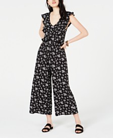 American Rag Juniors' Top-Ruffle Jumpsuit, Created for Macy's