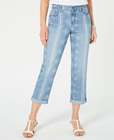 Style & Co Printed Cuffed-Hem Jeans, Created for Macy's