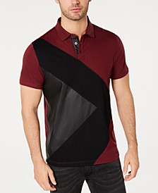 INC Men's Colorblocked Mixed Media Polo, Created for Macy's