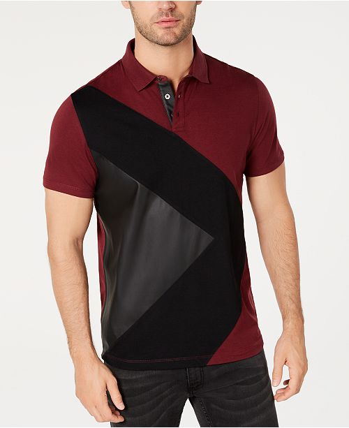 INC International Concepts I.N.C. Men's Colorblocked Mixed Media Polo, Created for Macy's