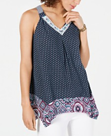 Style & Co Mixed-Print Embroidered Top, Created for Macy's